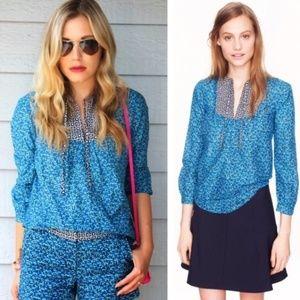 j. crew // flowerpatch print peasant top blouse